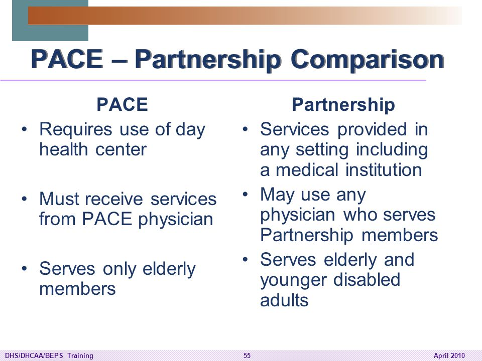 PACE – Partnership Comparison