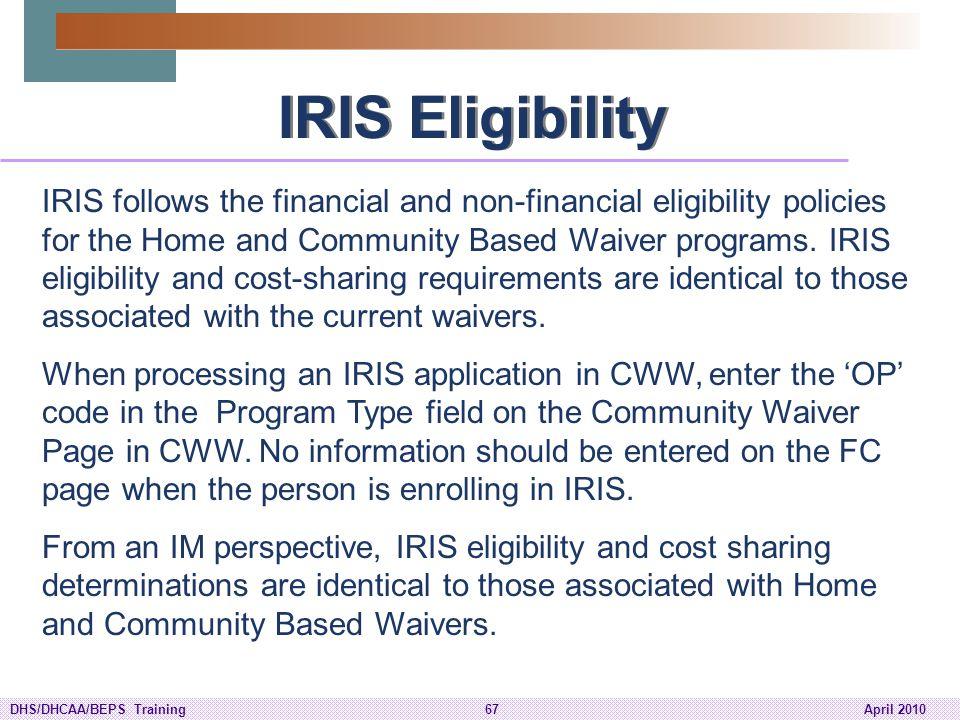 IRIS Eligibility