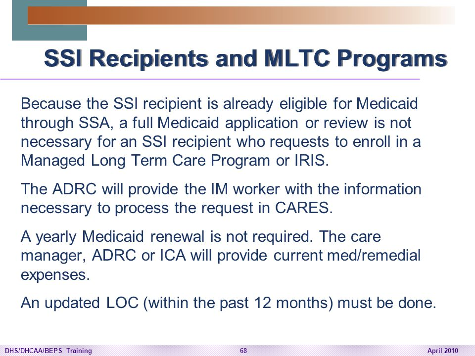 SSI Recipients and MLTC Programs