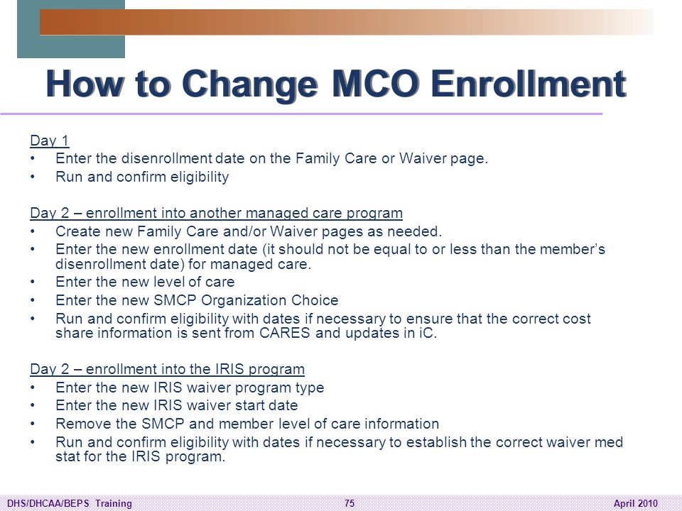 How to Change MCO Enrollment