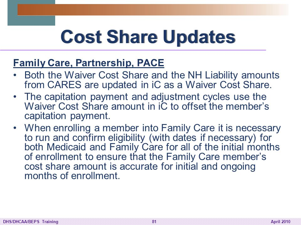 Cost Share Updates Family Care, Partnership, PACE