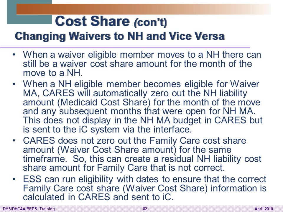 Cost Share (con't) Changing Waivers to NH and Vice Versa