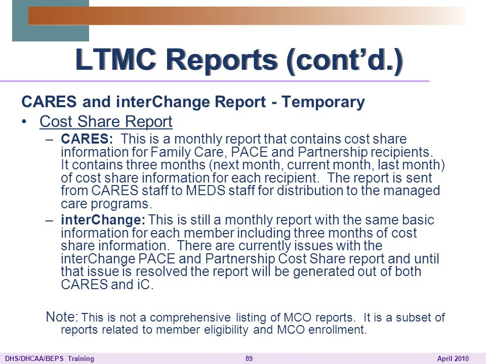 LTMC Reports (cont'd.) CARES and interChange Report - Temporary