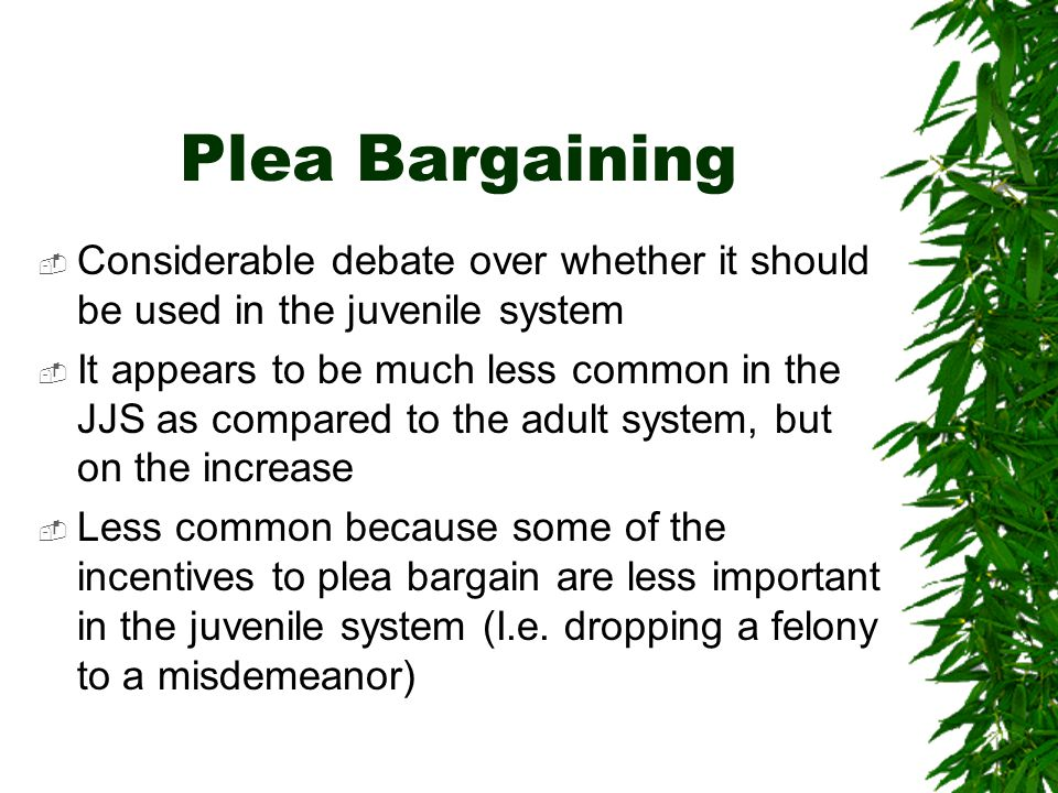Plea Bargaining Considerable debate over whether it should be used in the juvenile system.