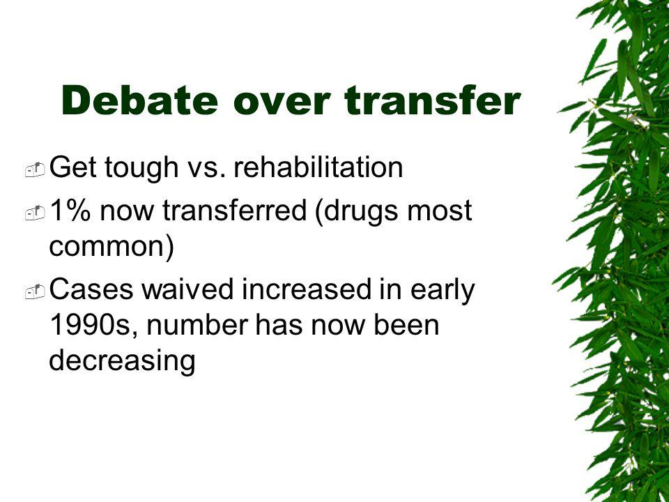 Debate over transfer Get tough vs. rehabilitation