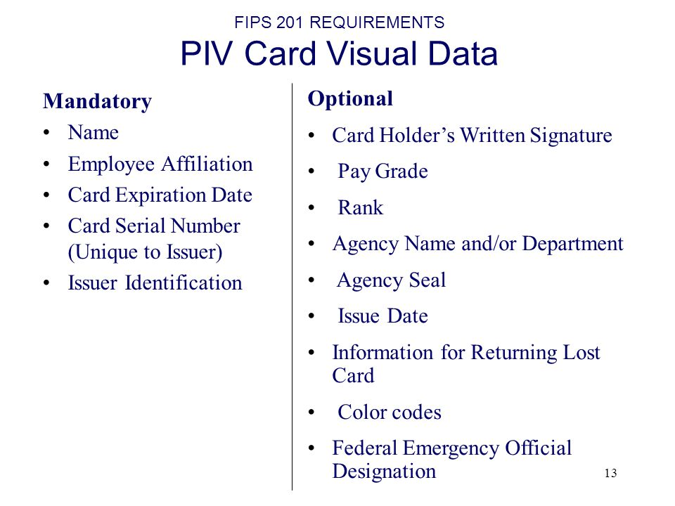 FIPS 201 REQUIREMENTS PIV Card Visual Data