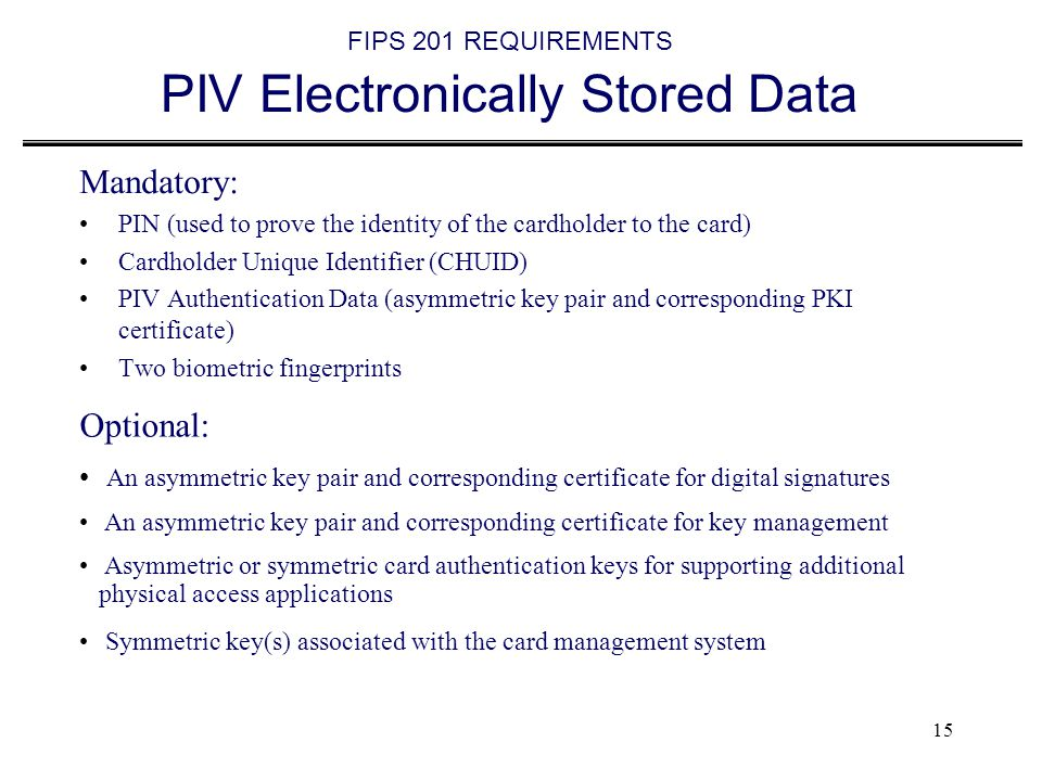 FIPS 201 REQUIREMENTS PIV Electronically Stored Data