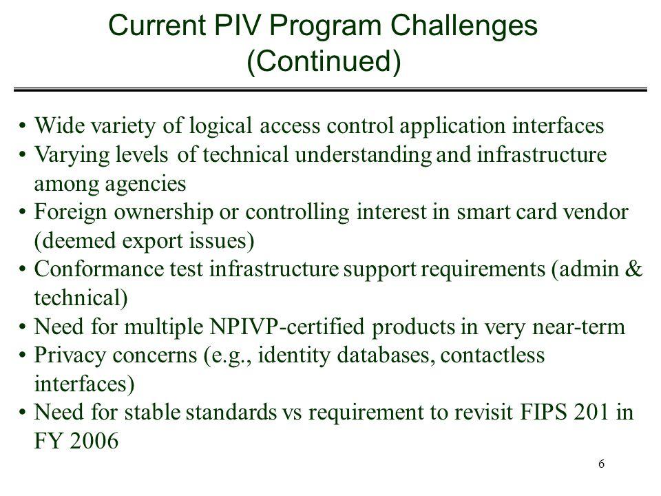 Current PIV Program Challenges (Continued)