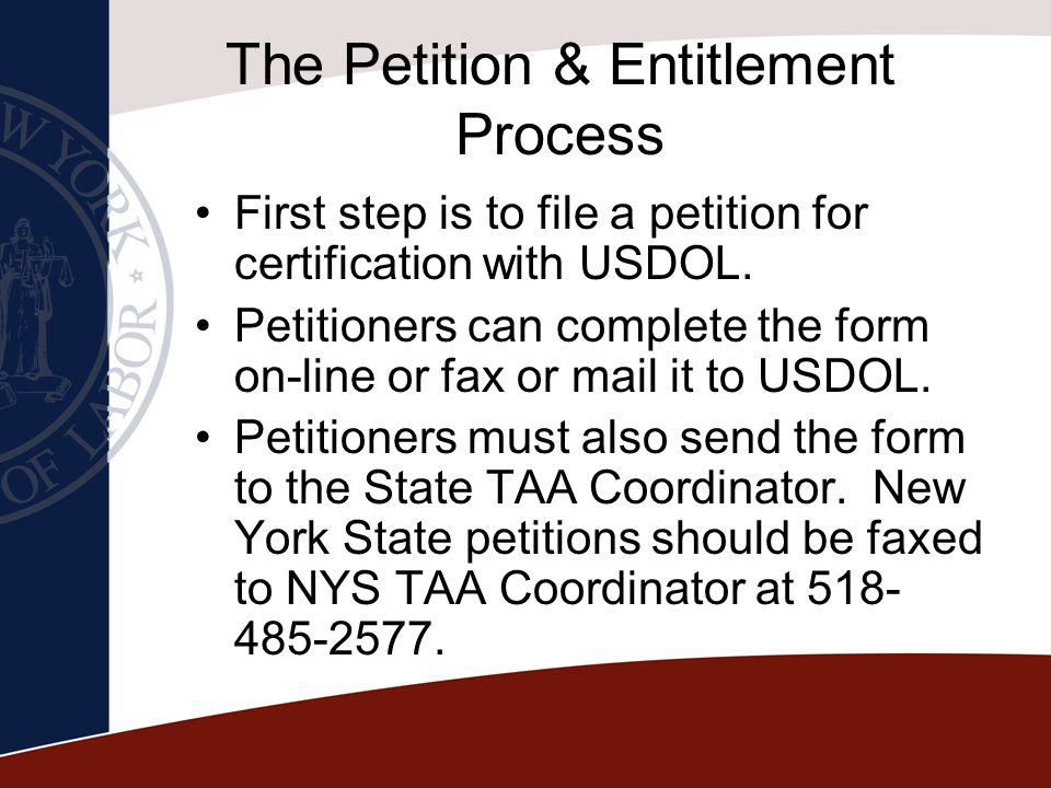 The Petition & Entitlement Process