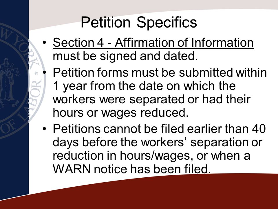 Petition Specifics Section 4 - Affirmation of Information must be signed and dated.