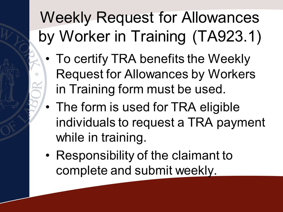 Weekly Request for Allowances by Worker in Training (TA923.1)