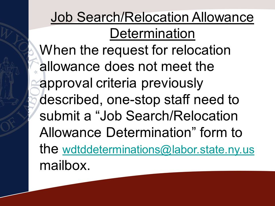 Job Search/Relocation Allowance Determination