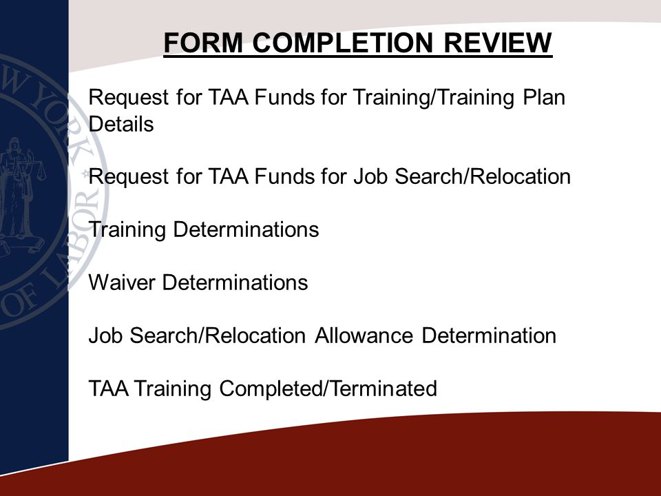 FORM COMPLETION REVIEW