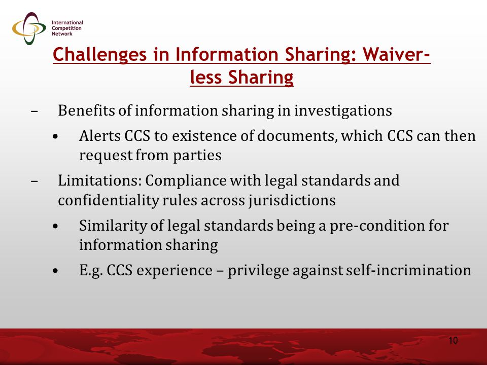 Challenges in Information Sharing: Waiver-less Sharing