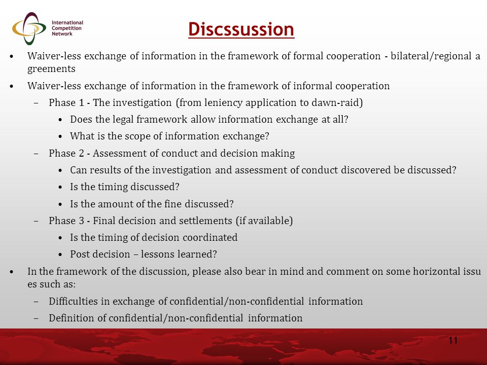 Discssussion Waiver-less exchange of information in the framework of formal cooperation - bilateral/regional agreements.