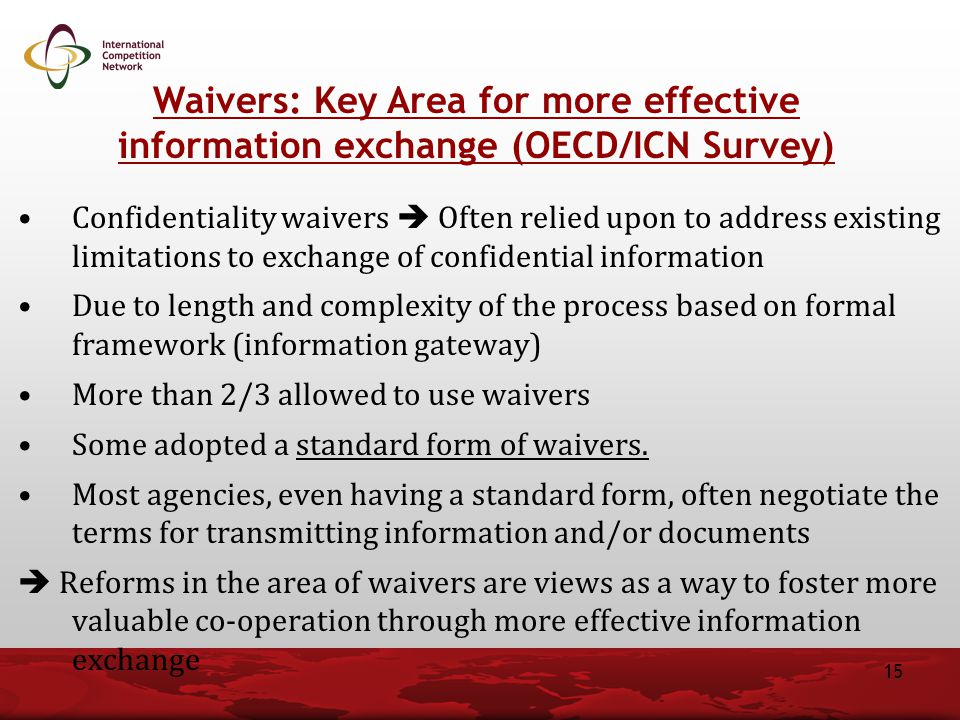 Waivers: Key Area for more effective information exchange (OECD/ICN Survey)