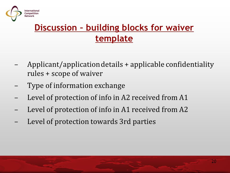 Discussion – building blocks for waiver template