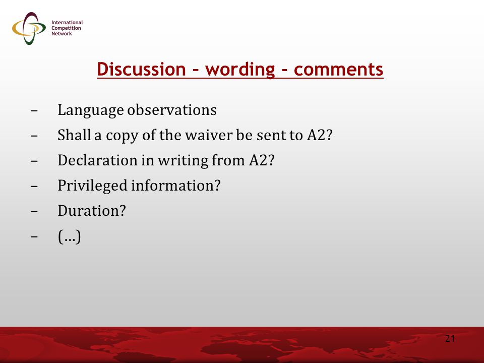 Discussion – wording - comments