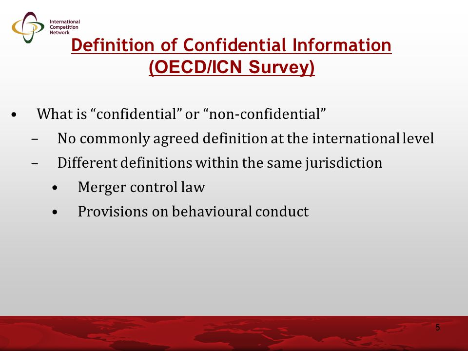 Definition of Confidential Information (OECD/ICN Survey)