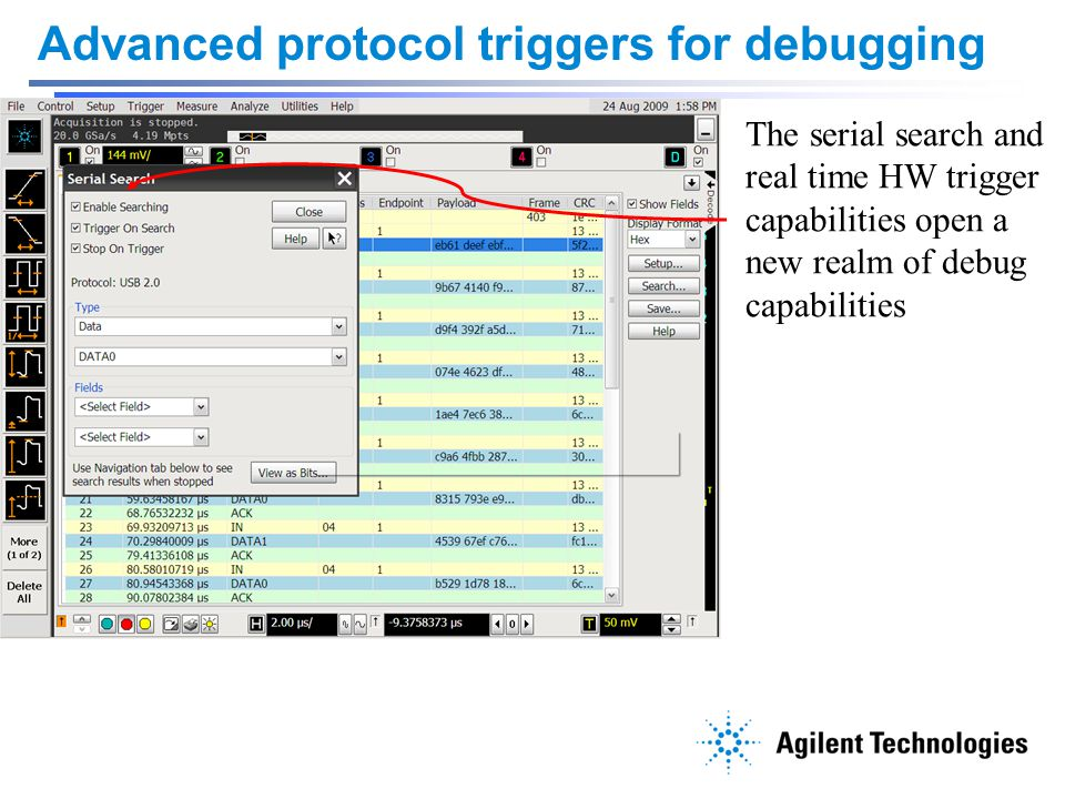 Advanced protocol triggers for debugging