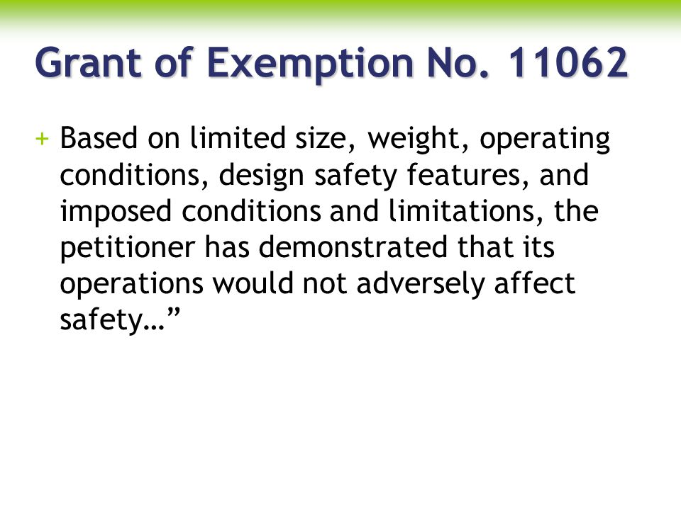 Grant of Exemption No. 11062
