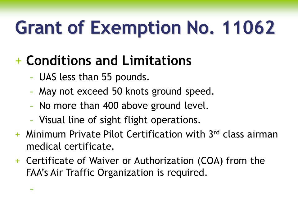 Grant of Exemption No. 11062 Conditions and Limitations