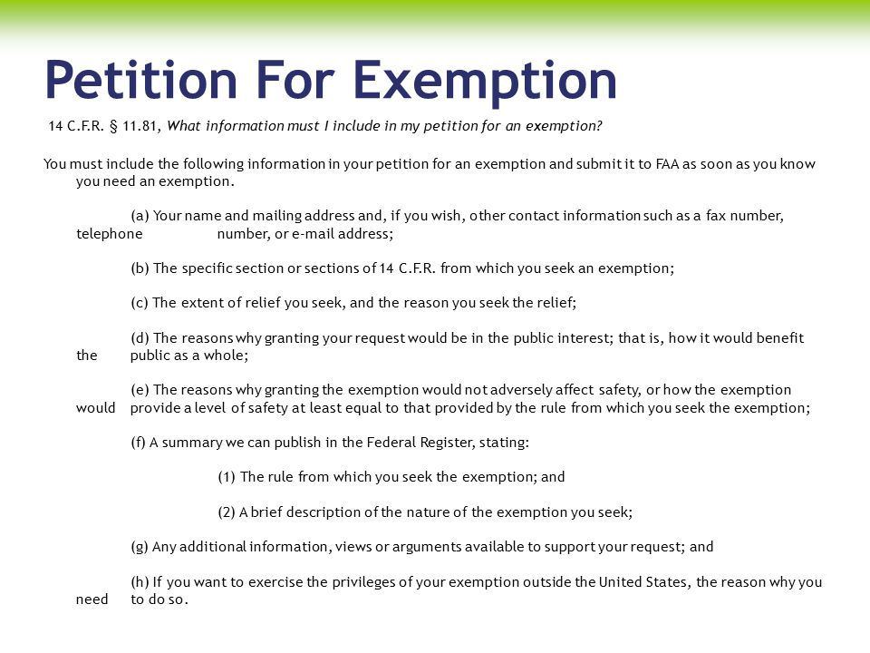 Petition For Exemption