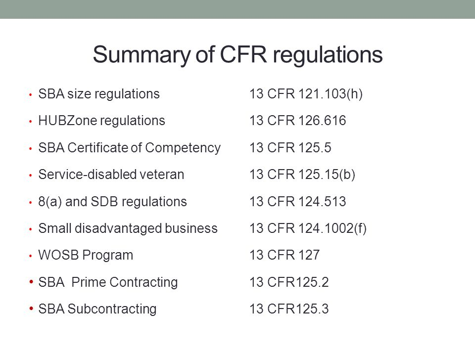 Summary of CFR regulations