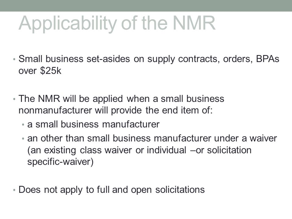 Applicability of the NMR