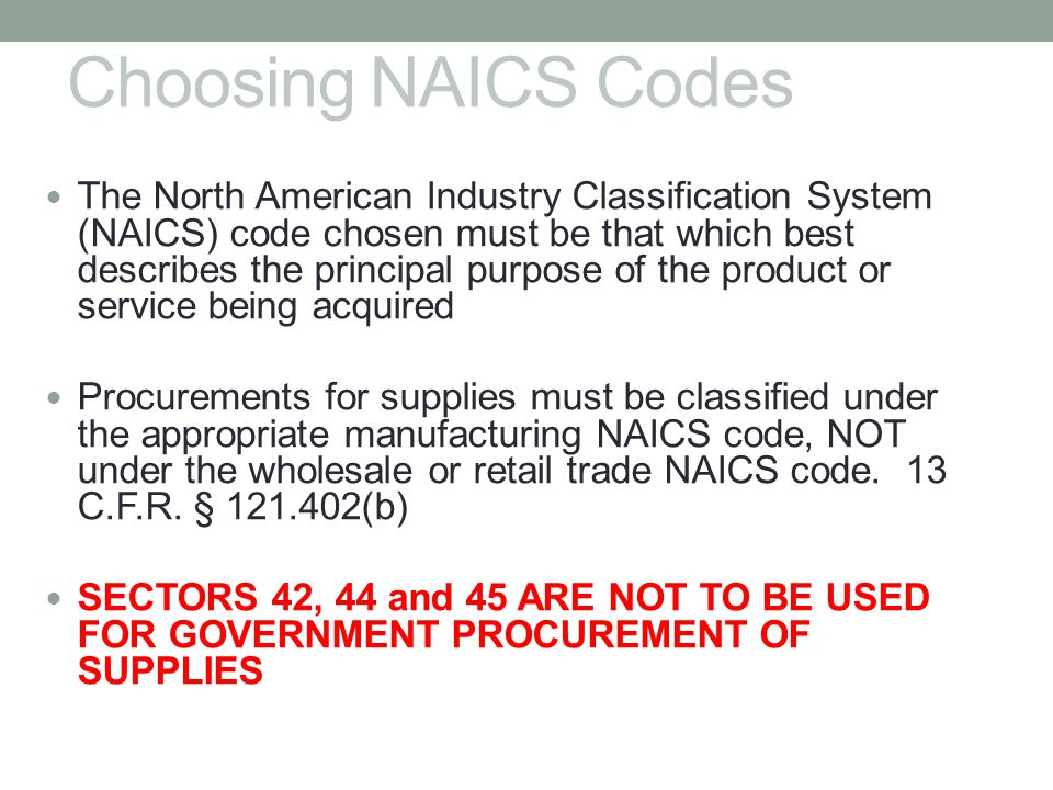 Choosing NAICS Codes