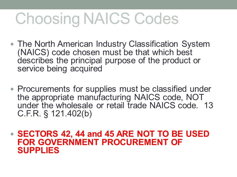 Choosing NAICS Codes