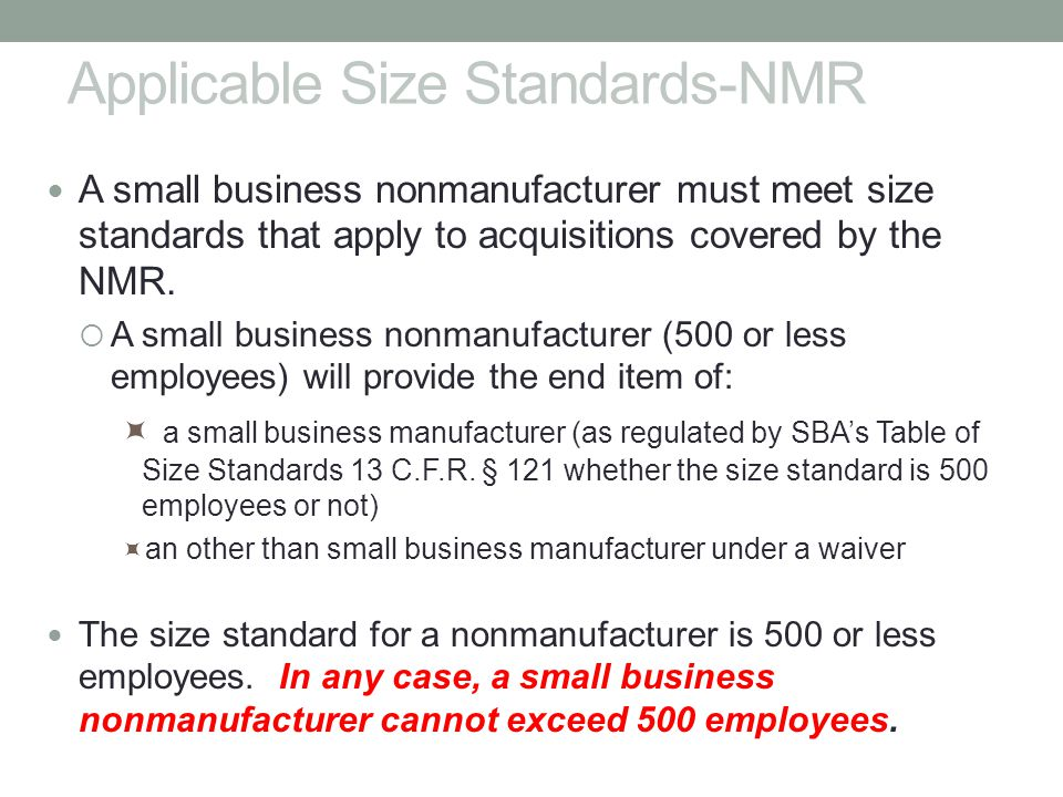 Applicable Size Standards-NMR