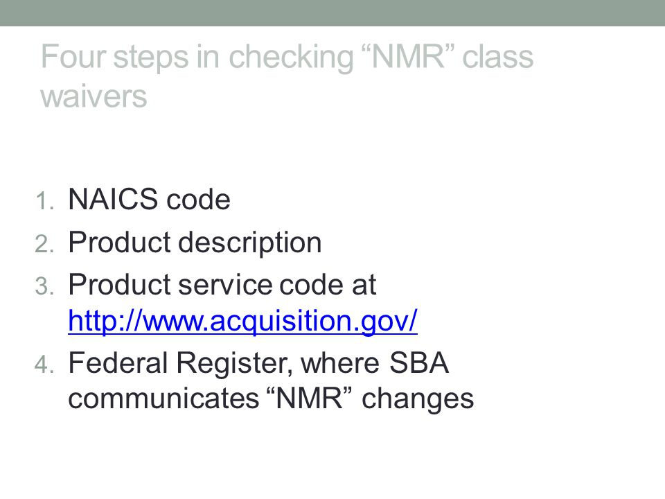 Four steps in checking NMR class waivers