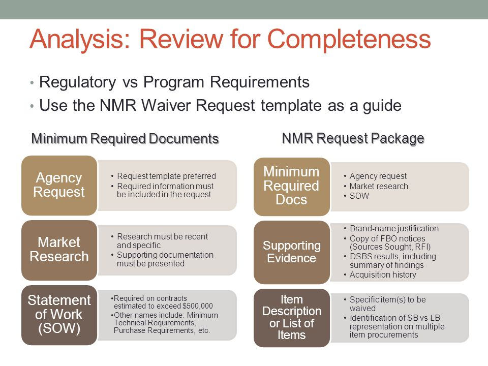 Analysis: Review for Completeness