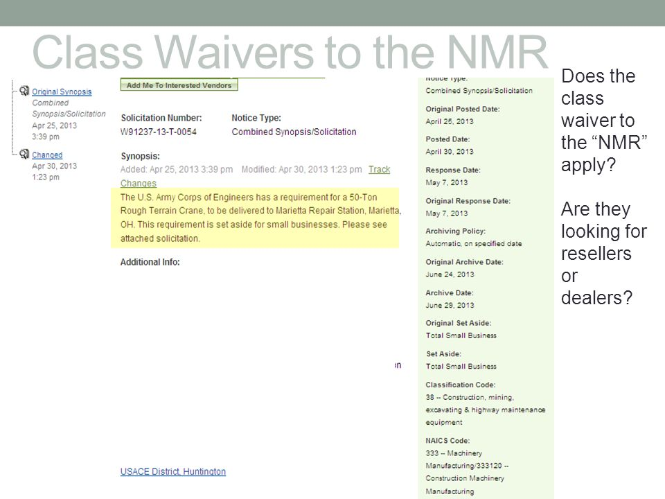 Class Waivers to the NMR