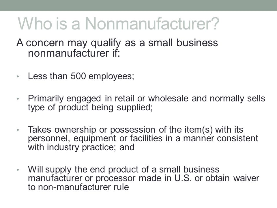 Who is a Nonmanufacturer