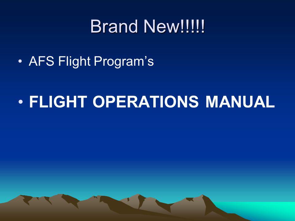 Brand New!!!!! AFS Flight Program's FLIGHT OPERATIONS MANUAL