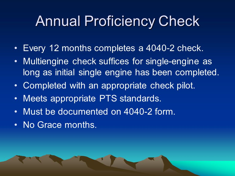 Annual Proficiency Check