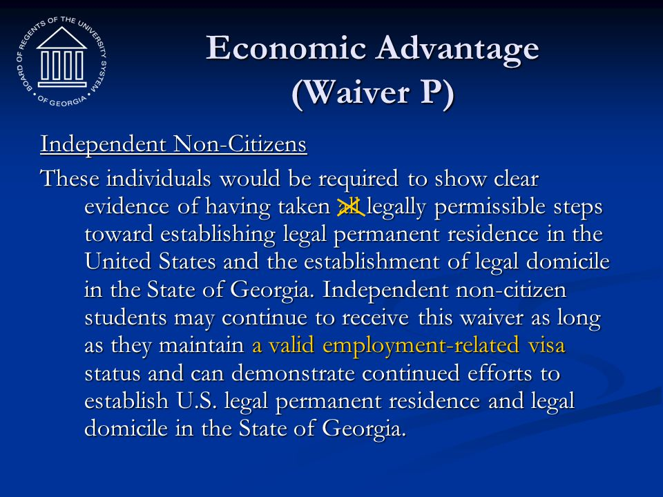 Economic Advantage (Waiver P)