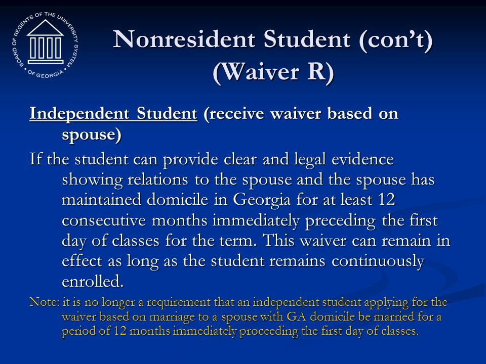 Nonresident Student (con't) (Waiver R)