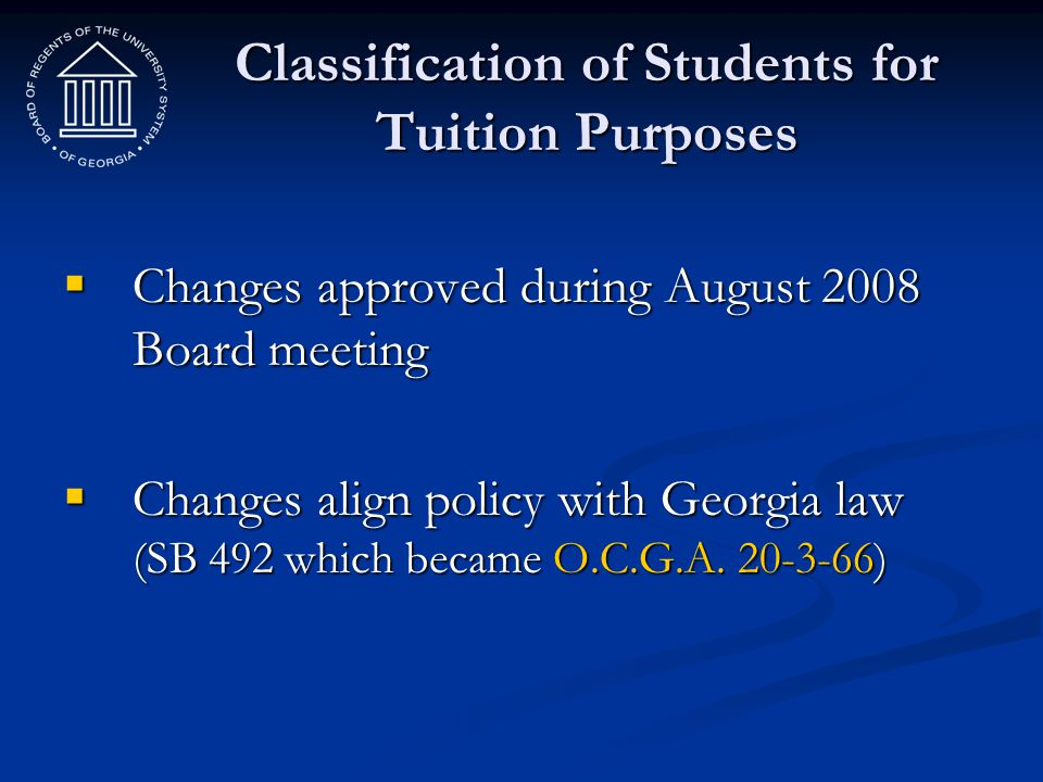 Classification of Students for Tuition Purposes