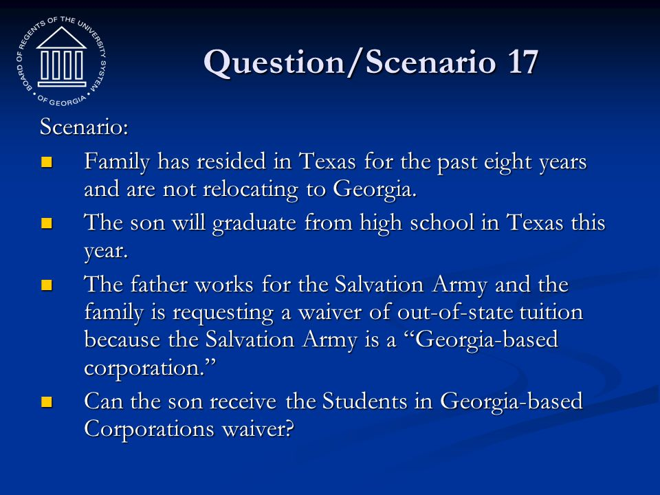 Question/Scenario 17 Scenario: