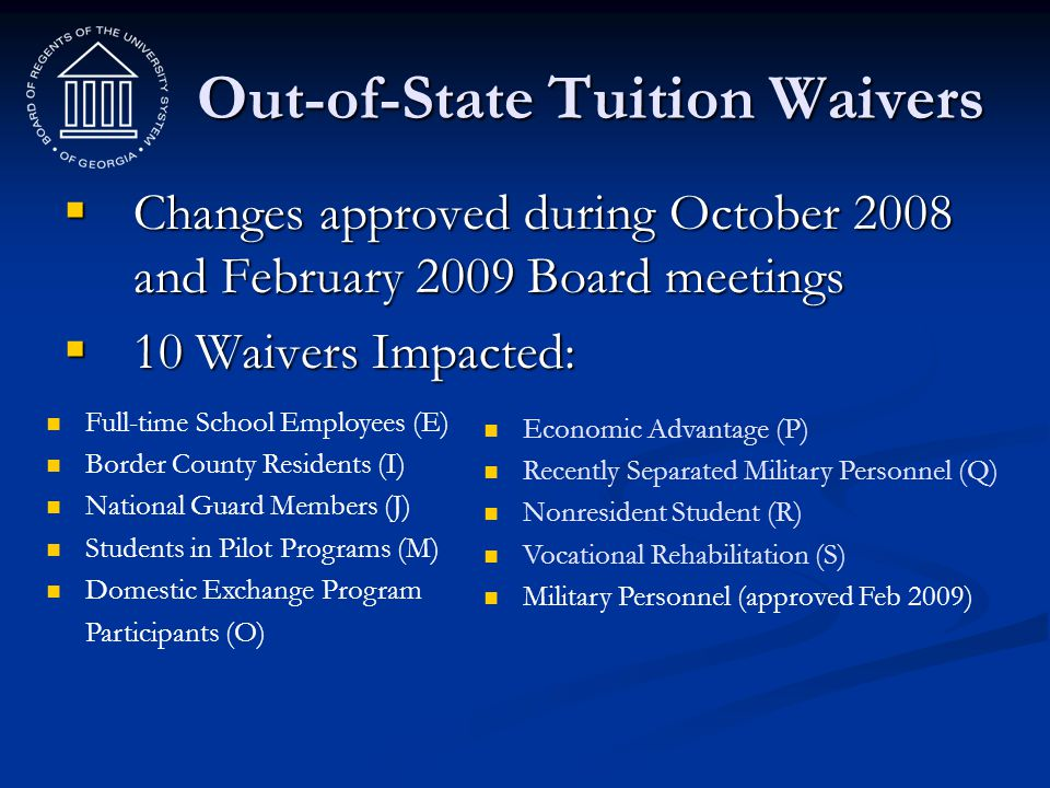 Out-of-State Tuition Waivers