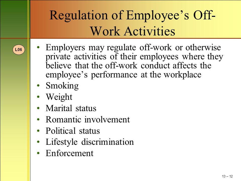 Regulation of Employee's Off-Work Activities