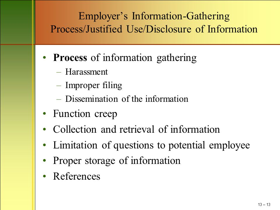 Process of information gathering
