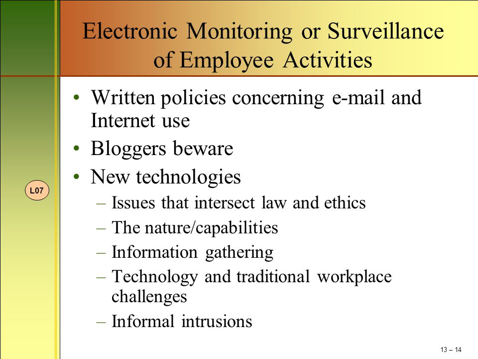Electronic Monitoring or Surveillance of Employee Activities