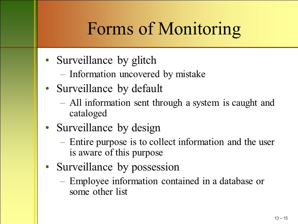 Forms of Monitoring Surveillance by glitch Surveillance by default