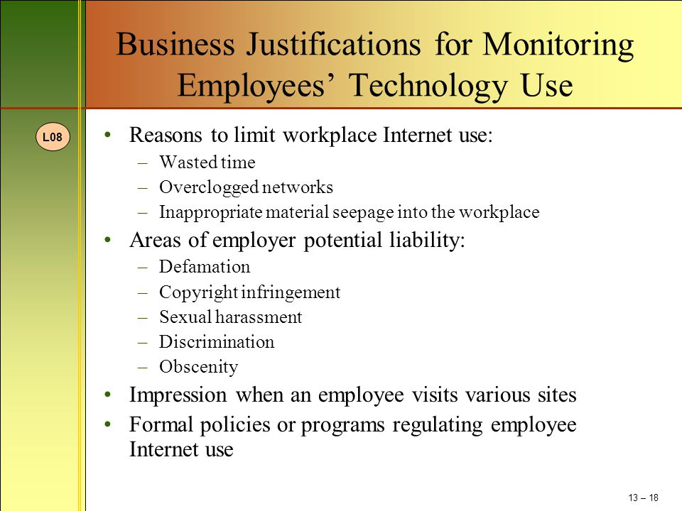 Business Justifications for Monitoring Employees' Technology Use
