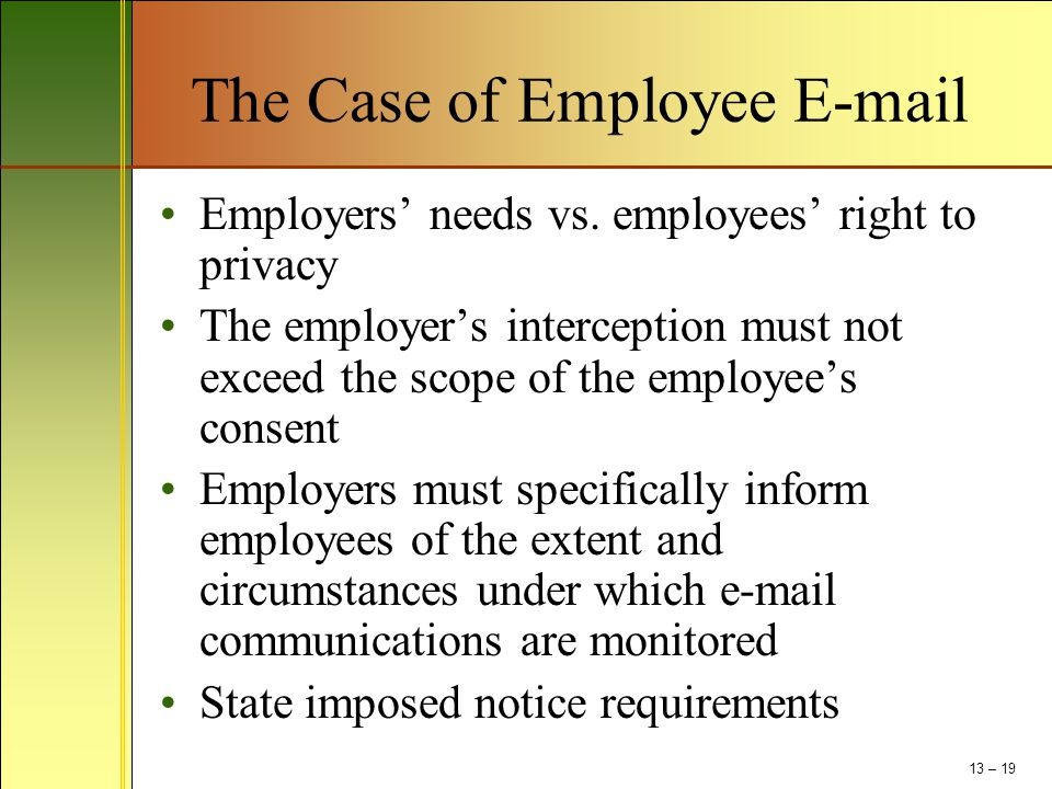 The Case of Employee E-mail