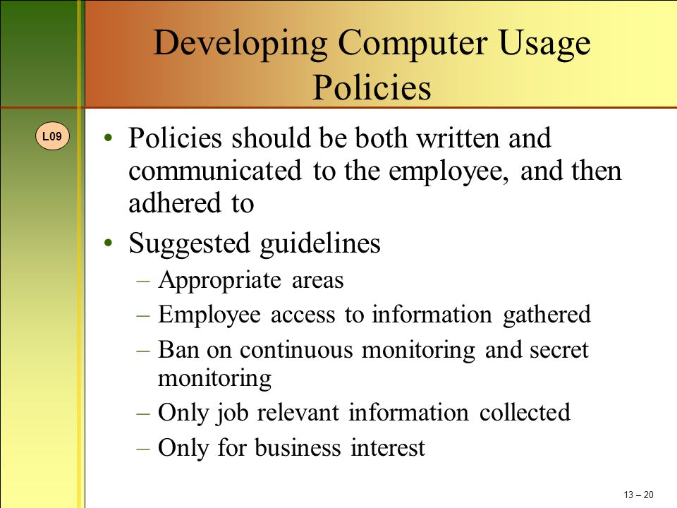 Developing Computer Usage Policies